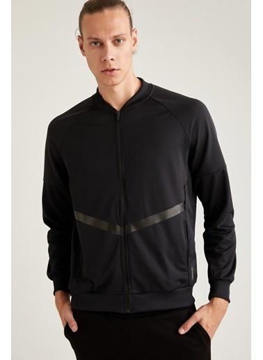 Defacto –Fit Fermuarlı Bomber Yaka Spor Sweatshirt Siyah